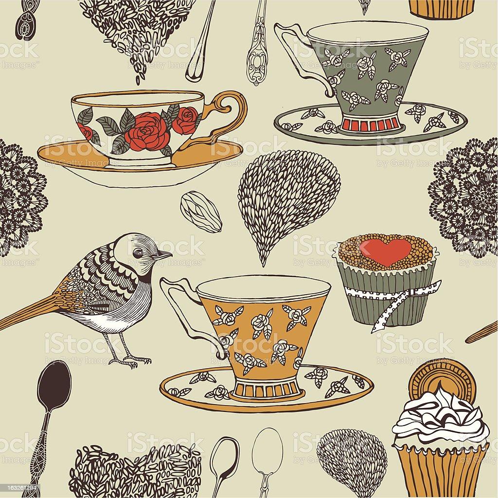 Cupcake, tea and bird seamless background. Vector. royalty-free stock vector art