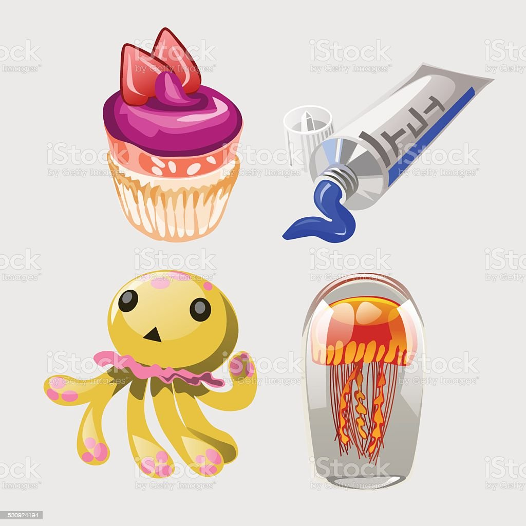 Cupcake, toothpaste, toy and octopus vector art illustration