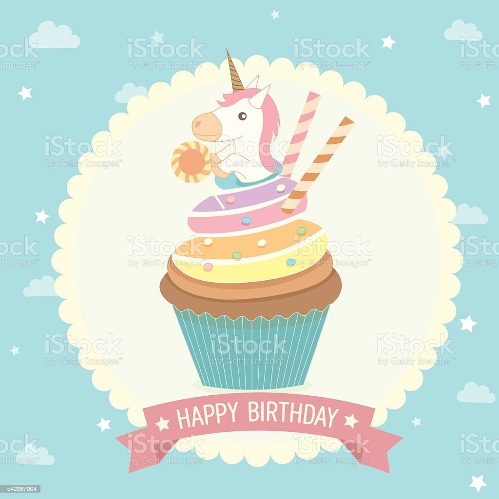 cupcake unicorn birthday card vector art illustration