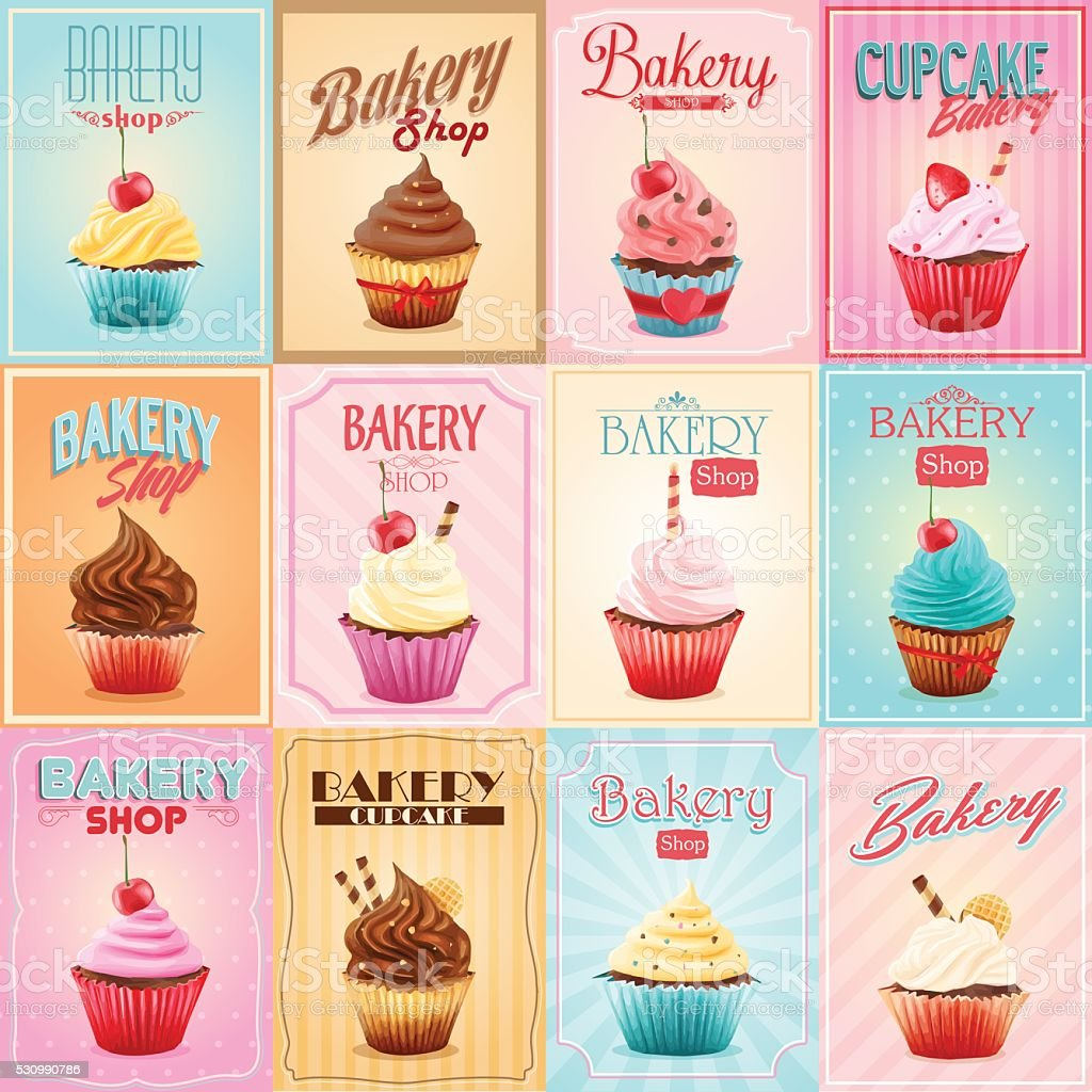 cupcake vector art illustration
