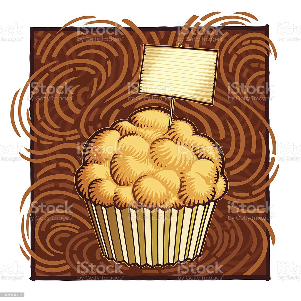 cupcake with a blank label vector art illustration
