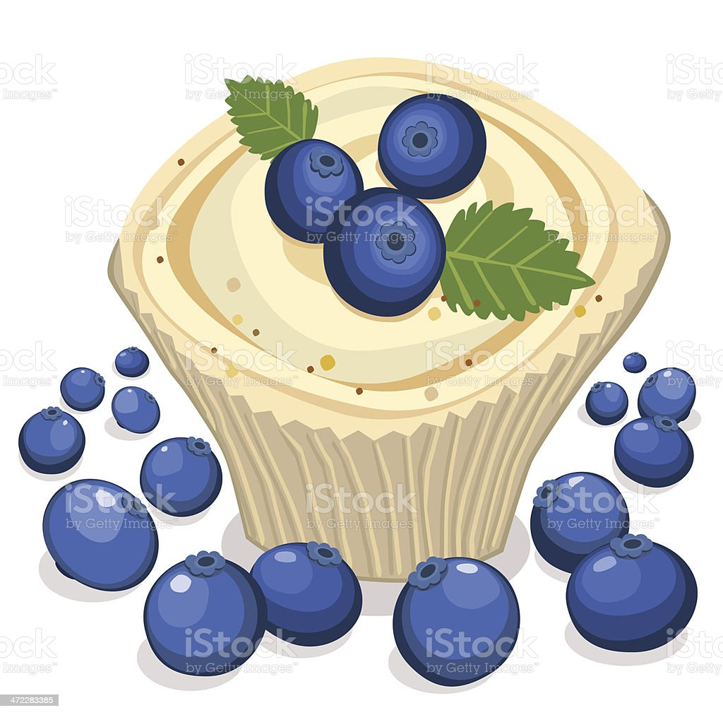 Cupcake With Blueberries royalty-free stock vector art