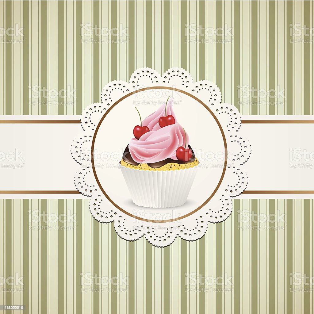 Cupcake with cherriss and pink cream royalty-free stock vector art