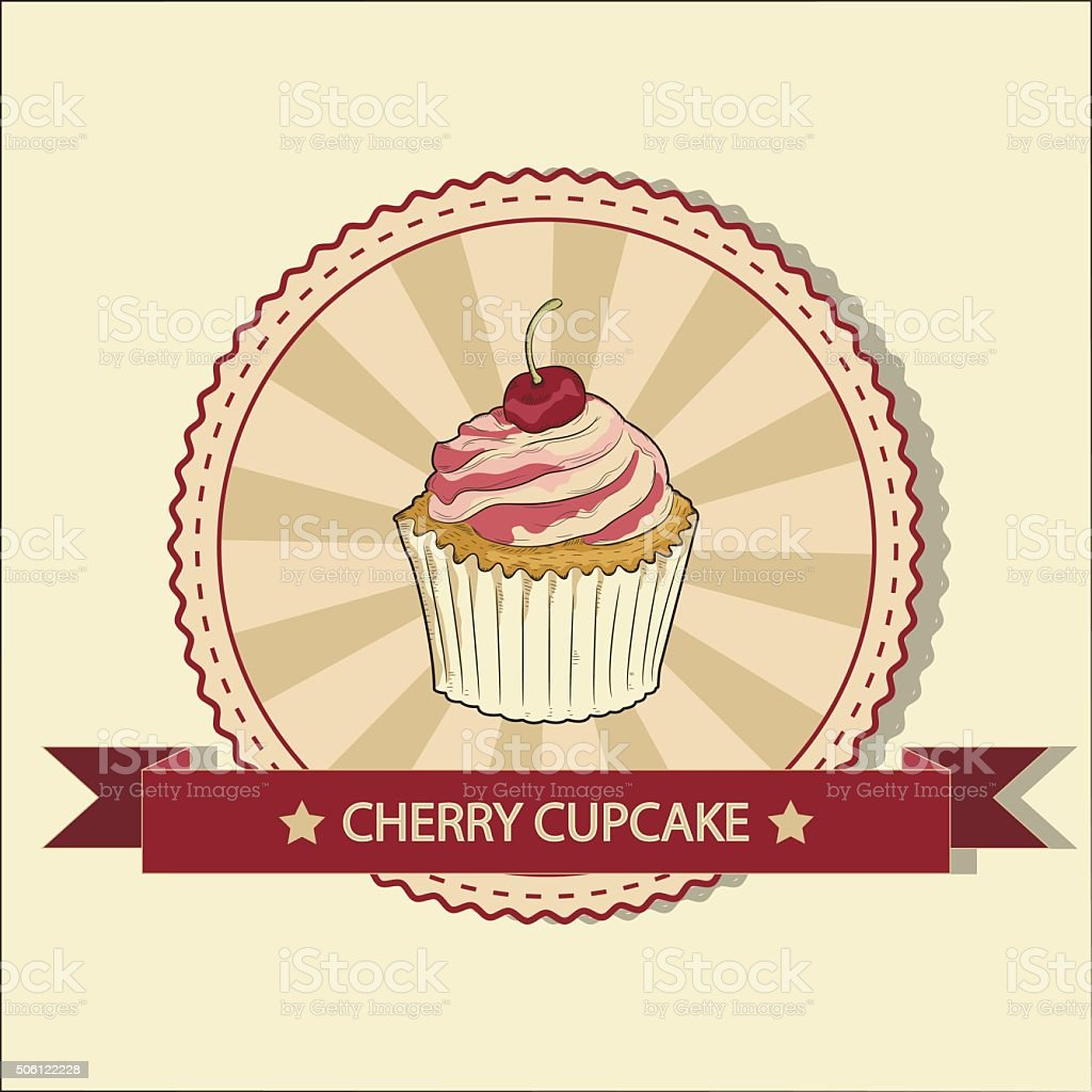 Cupcake with cherry. hand drawn illustration. Vector royalty-free stock vector art