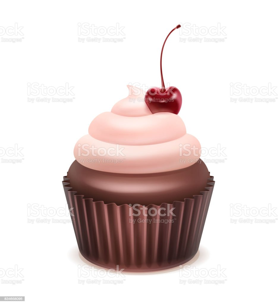 Cupcake with cherry vector art illustration