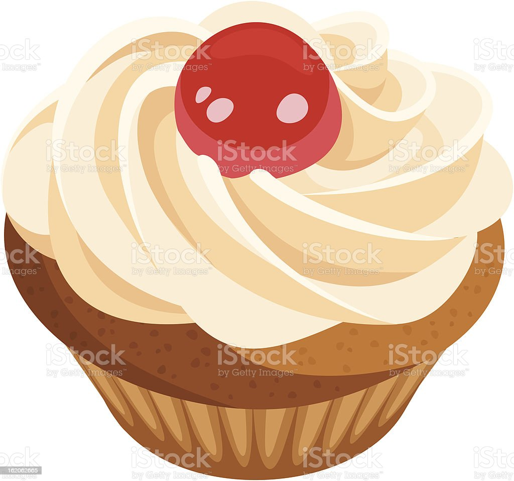 Cupcake with cream and cherry. Vector illustration. royalty-free stock vector art