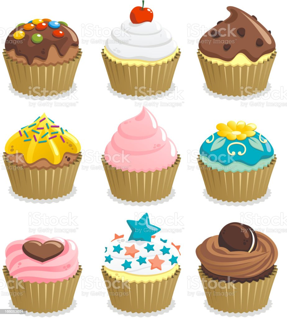 Cupcake with nine cupcakes vector art illustration