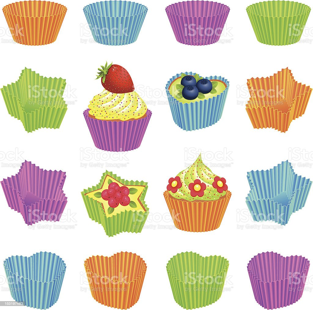 Cupcakes and colourful baking cups vector art illustration