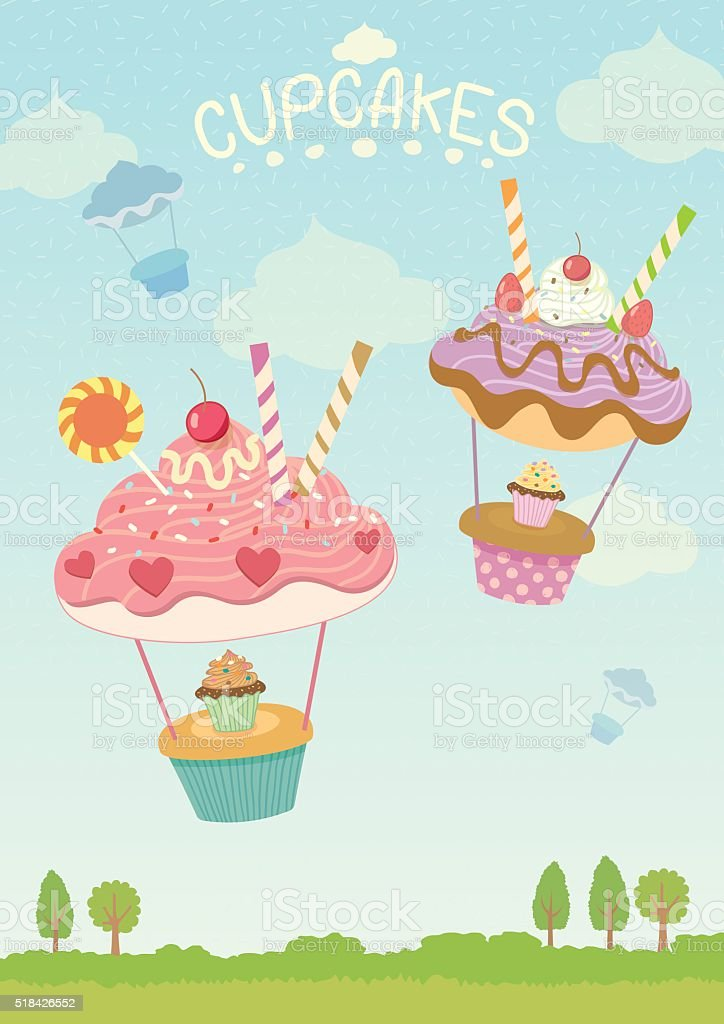 cupcakes balloons vector art illustration