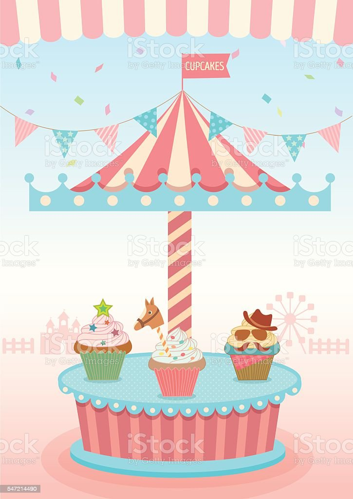 cupcakes booth merry go round vector art illustration