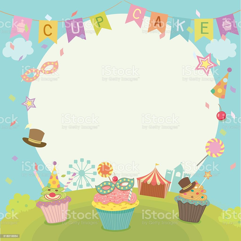cupcakes carnival notepad vector art illustration