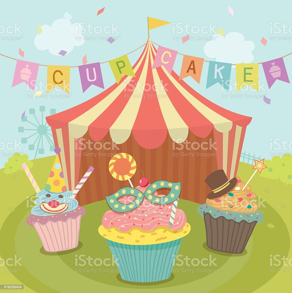cupcakes carnival vector art illustration