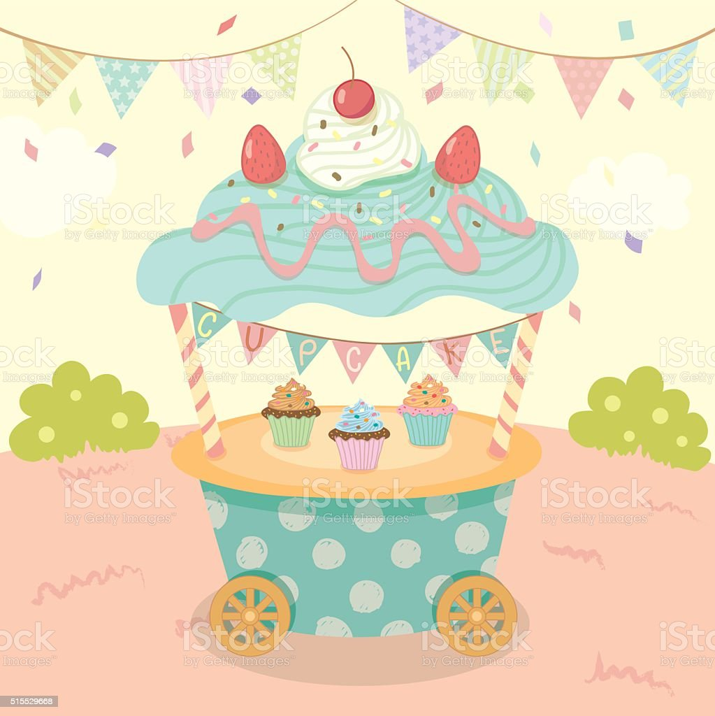 cupcakes cart party vector art illustration