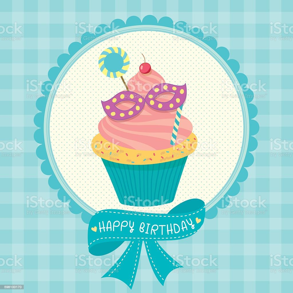 cupcakes cyan birthday card stock vector art 598100170 | istock
