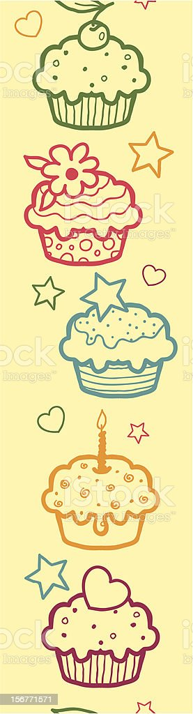 Cupcakes Dessert Vertical Seamless Ornament royalty-free stock vector art