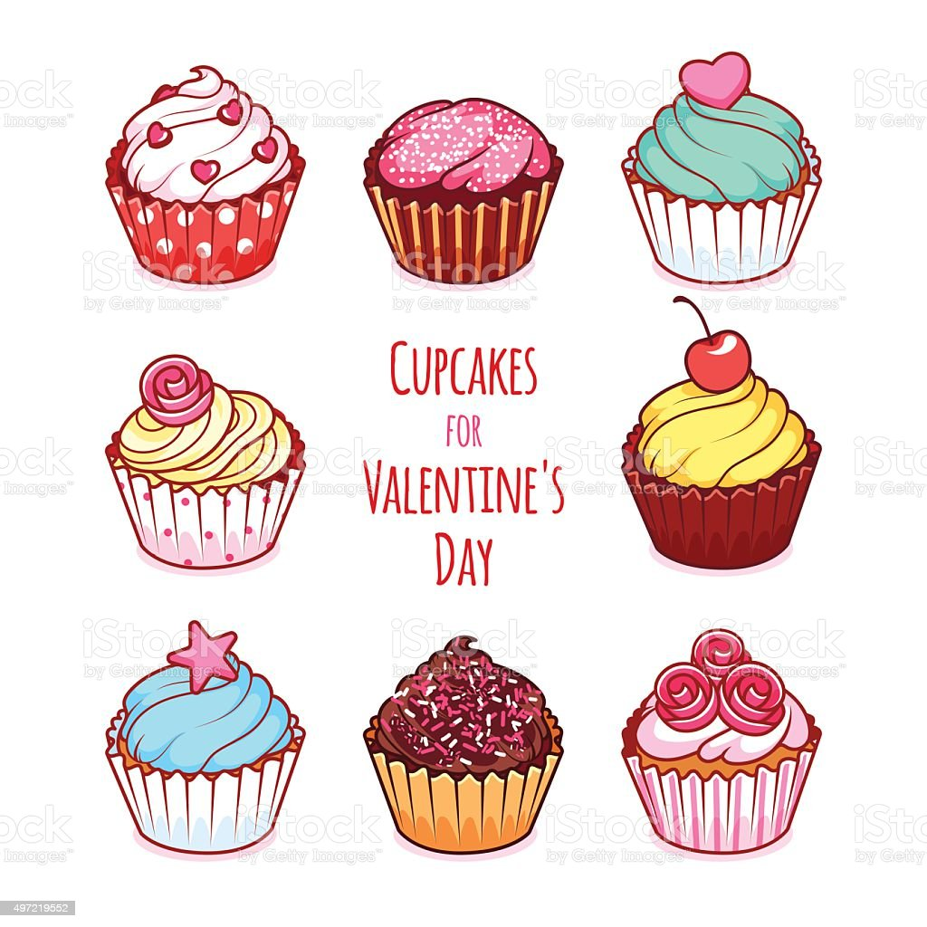 Cupcakes for Valentine's Day vector art illustration
