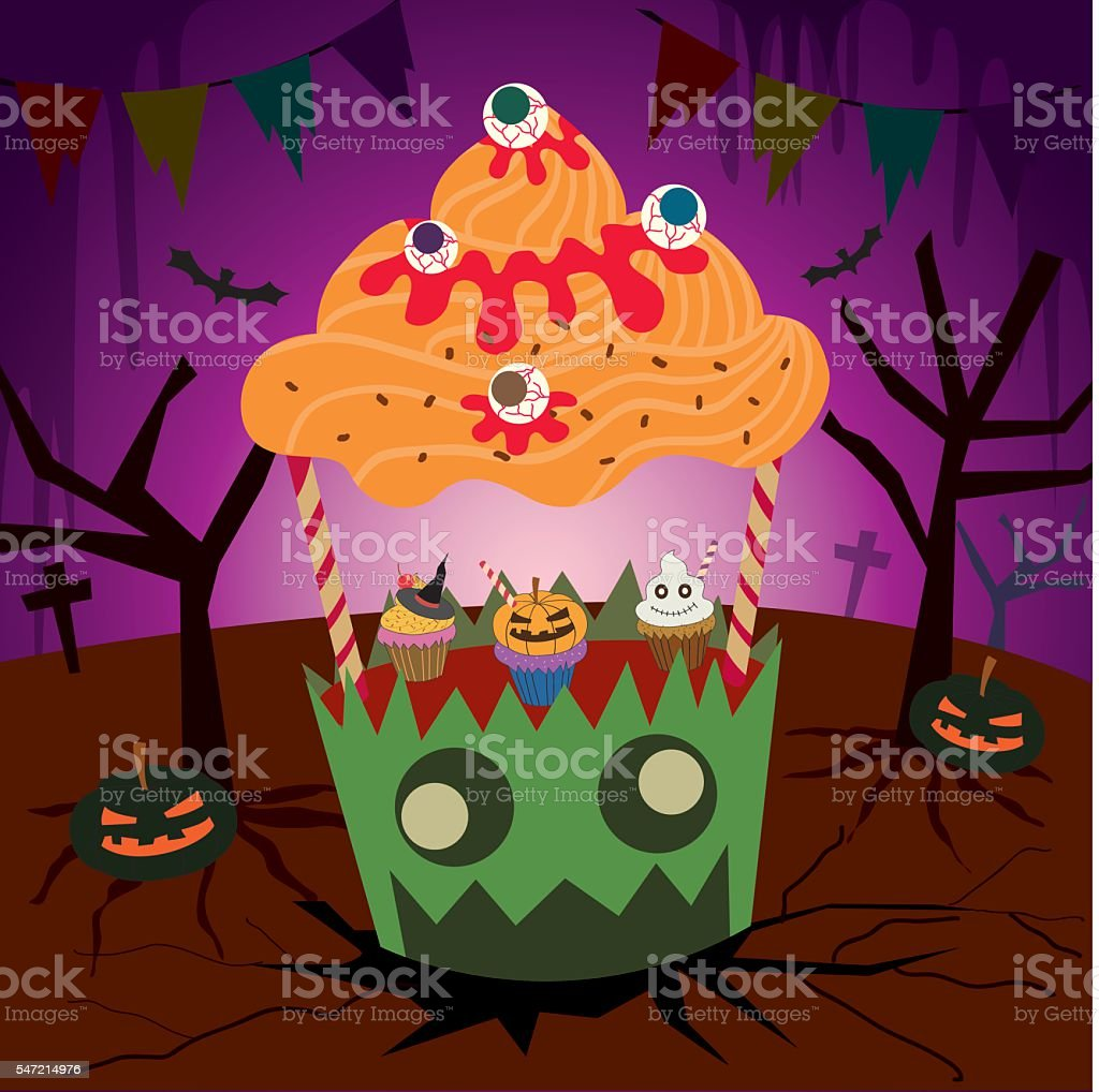 cupcakes halloween booth vector art illustration