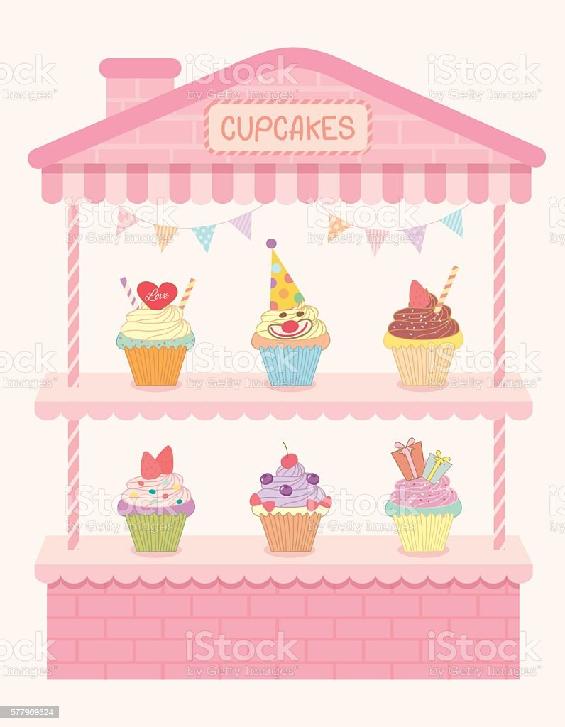 cupcakes house shelf vector art illustration