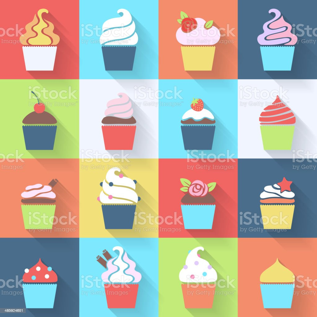 Cupcakes icons set in flat style. vector art illustration