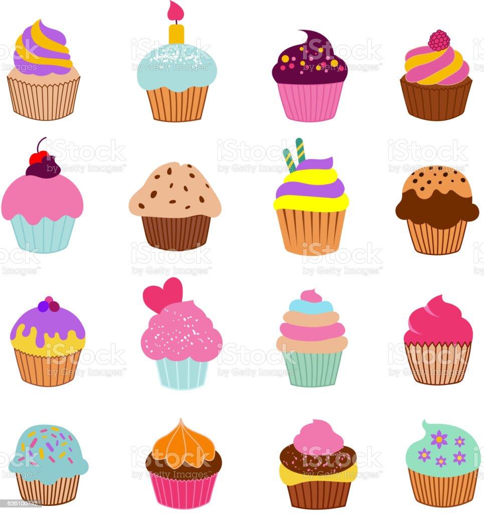 Cupcakes illustration vector. Vanilla chocolate and cherry muffin set vector art illustration