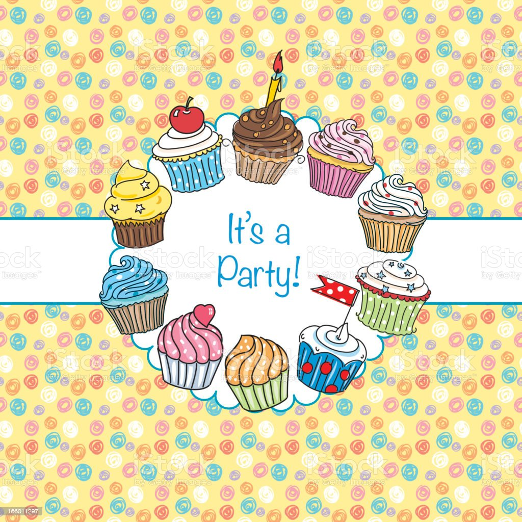 Cupcakes Party Invitation Background stock vector art 166011297 ...