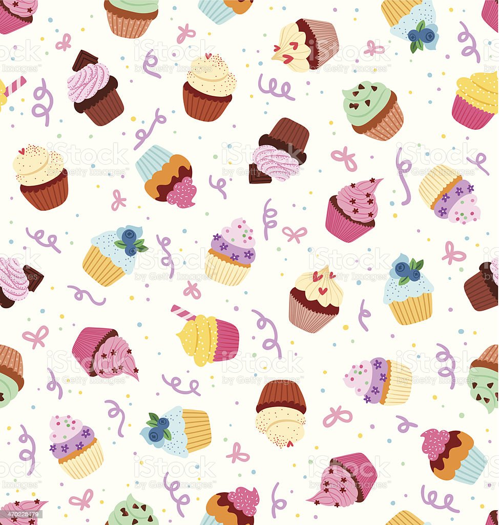 Cupcakes pattern vector art illustration
