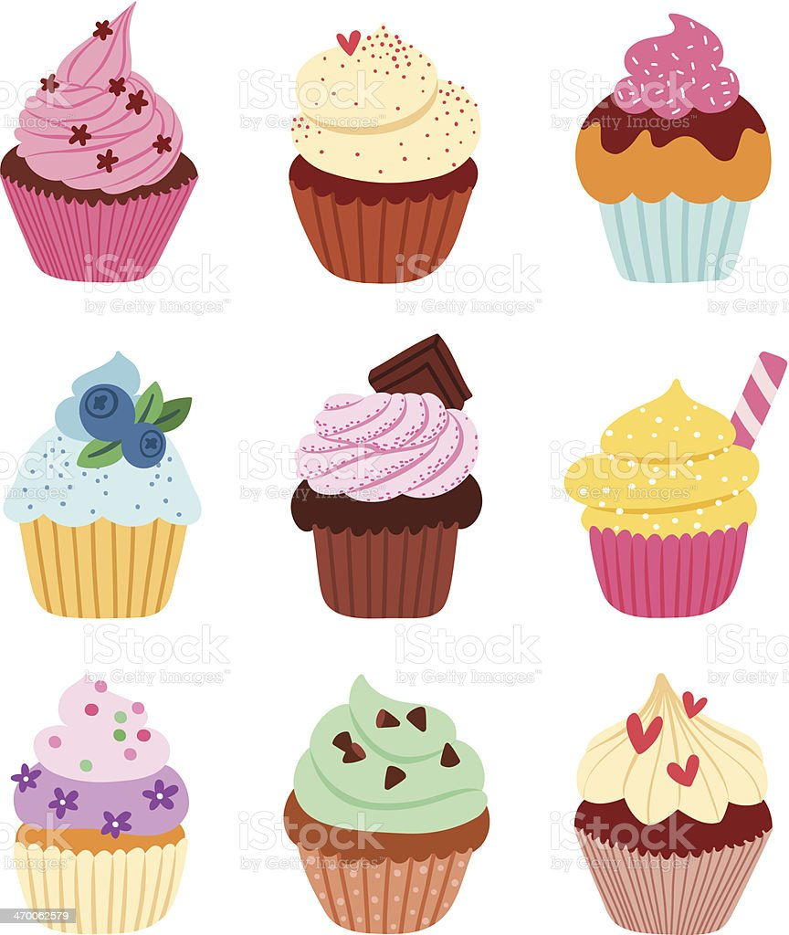 Cupcakes vector art illustration