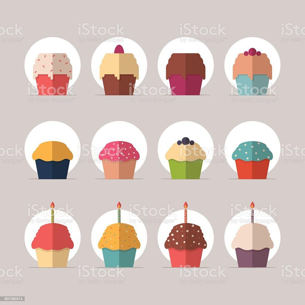 Cupcakes vector art illustration