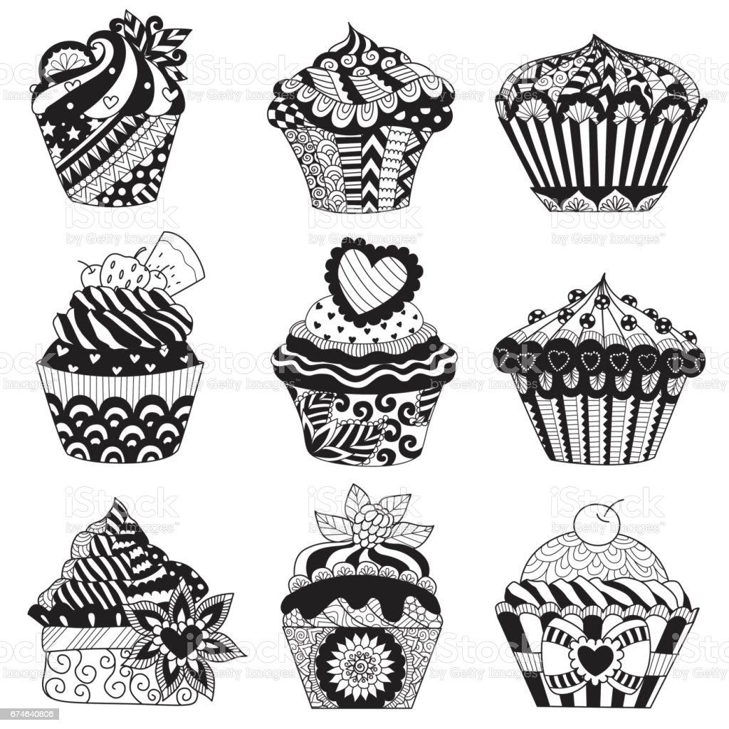 9 cupcakes vector art illustration