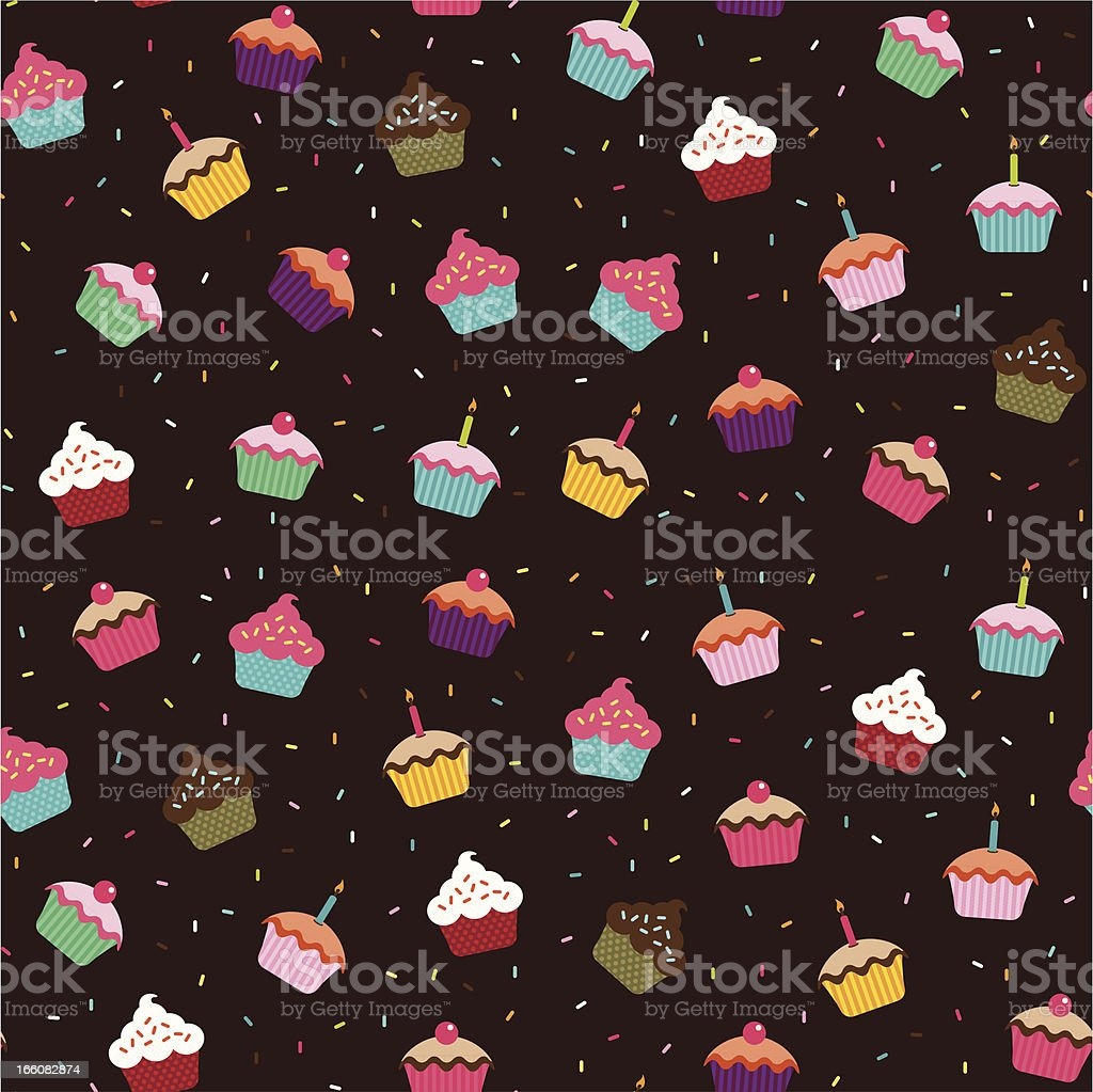 Cupcakes Wallpaper (Seamless) vector art illustration