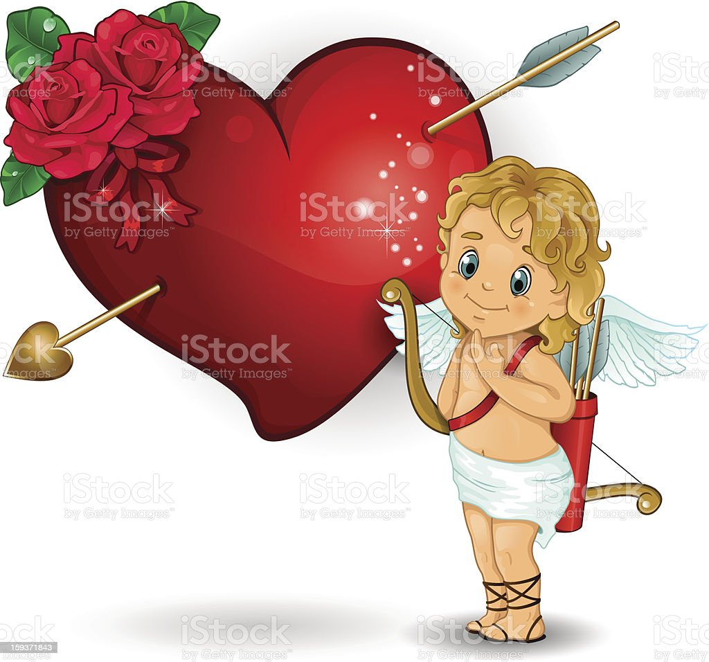 Cupid and heart red roses royalty-free stock vector art
