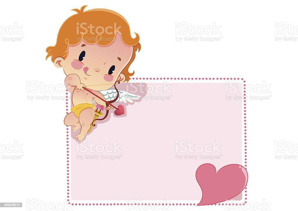 Cupid has a message-2 vector art illustration