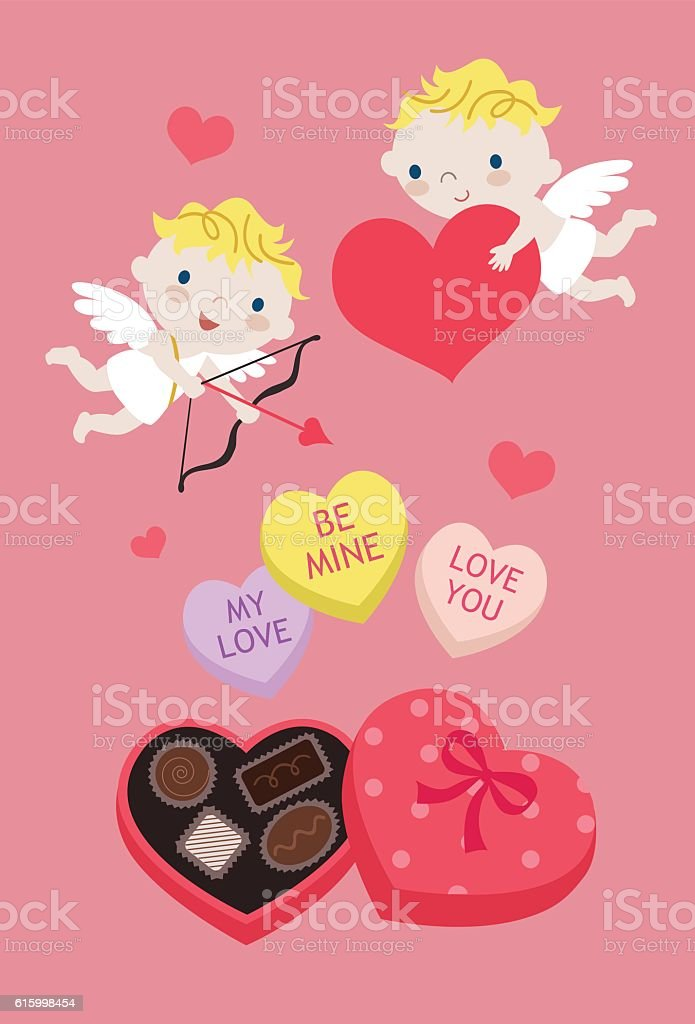 Cupid Hearts Candies and Chocolates for Valentine's Day vector art illustration