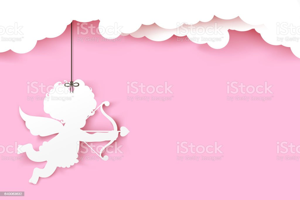 Cupid holding arrow with shadow on pink background with copyspac vector art illustration