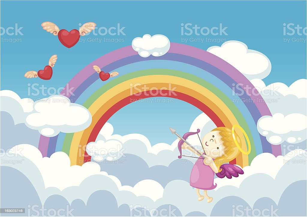 cupid in the clouds background royalty-free stock vector art