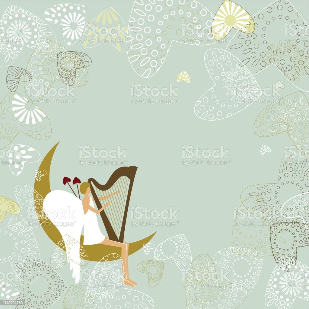 Cupid playing the harp royalty-free stock vector art