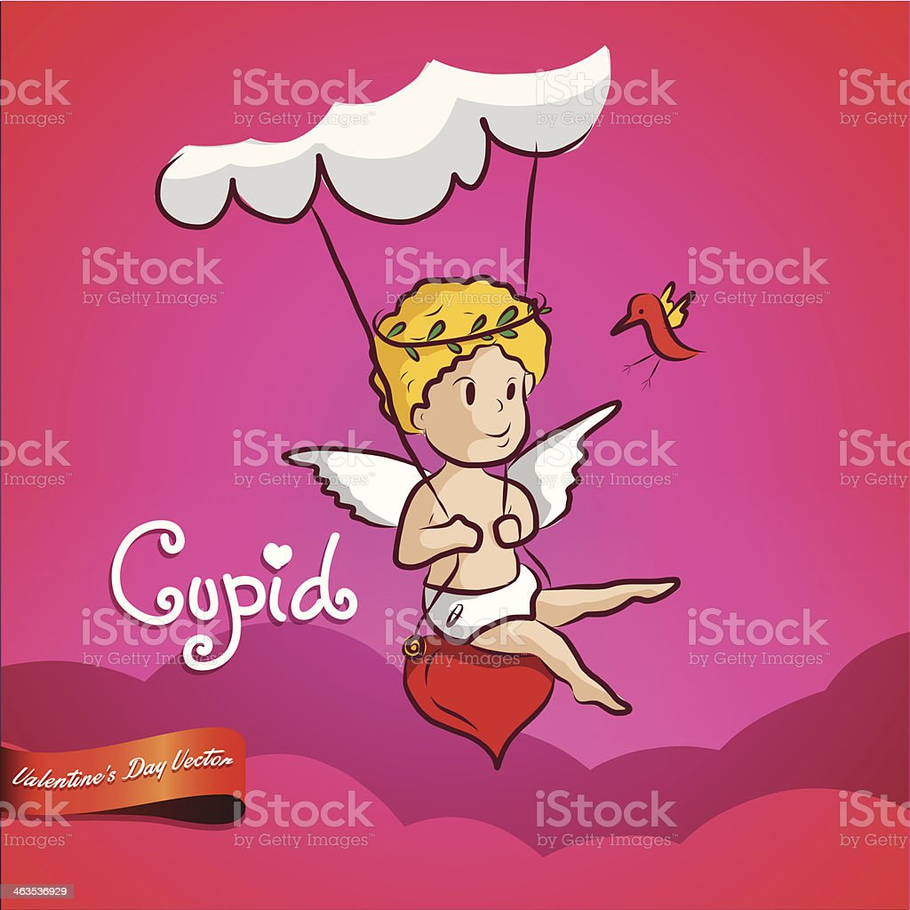 Cupid (god of Love) swing on the cloud.Valentine's day royalty-free stock vector art