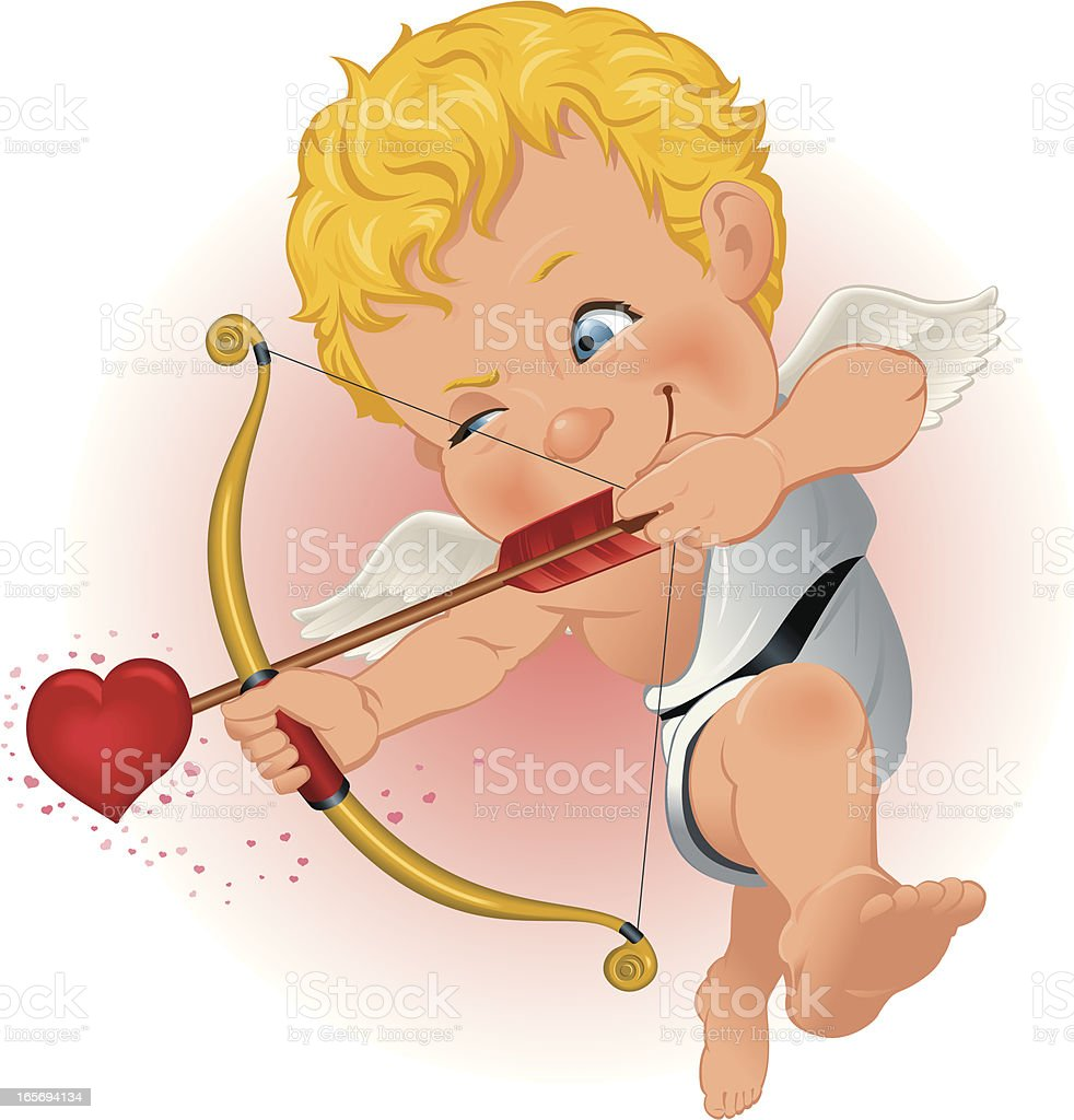 Cupid takes aim royalty-free stock vector art