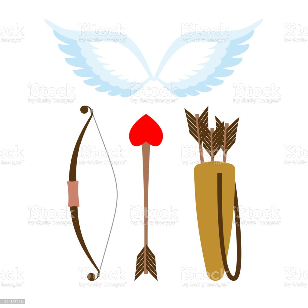 Cupid weapons set . Bow and arrow with heart. vector art illustration