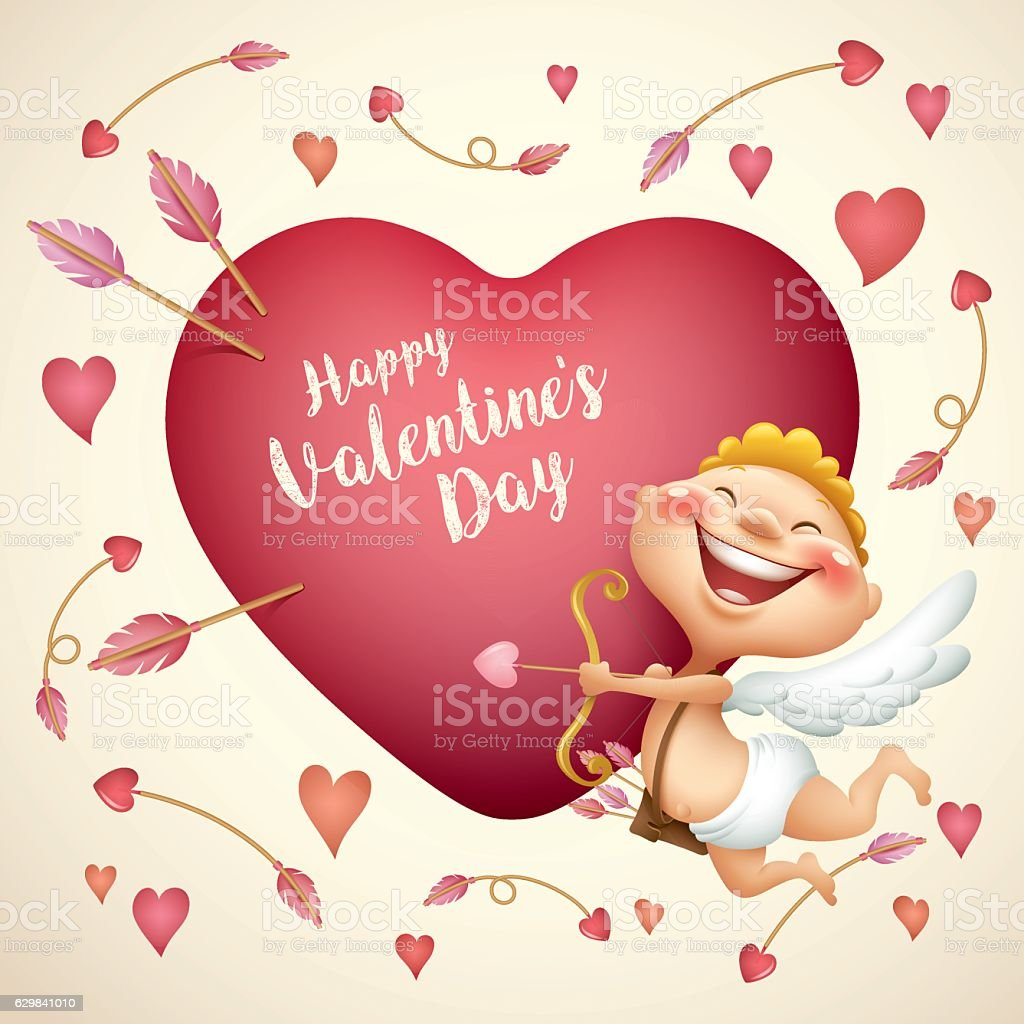 cupid with big heart vector art illustration