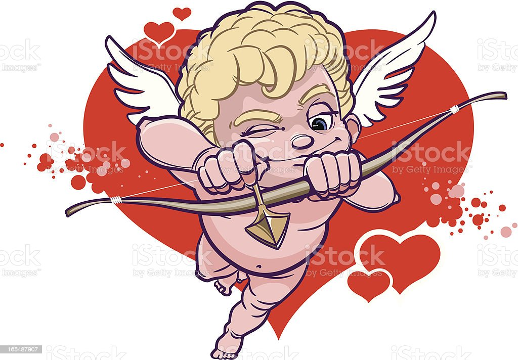 Cupid with bow is aiming at his target vector art illustration