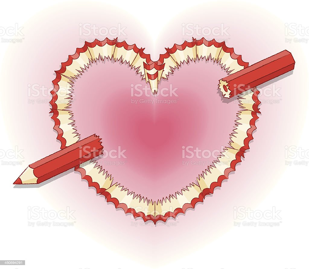 Cupid's Pencil and shavings in Shape of Love Heart royalty-free stock vector art