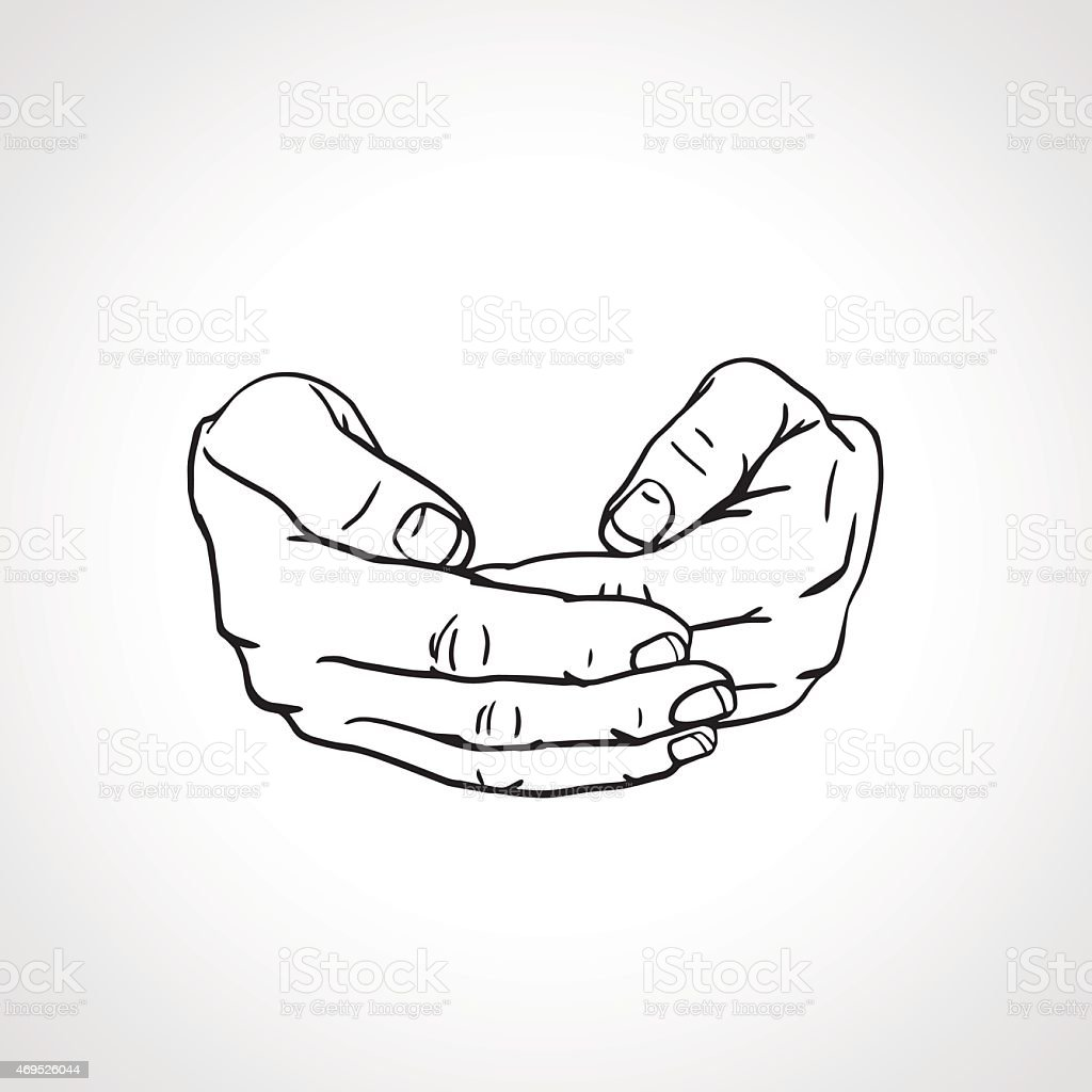 Cupped empty hands. Save gesture. vector art illustration