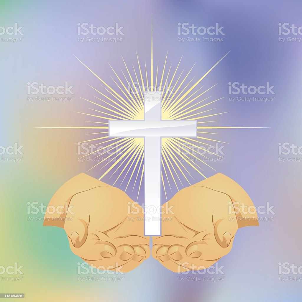 Cupped Hands and Cross royalty-free stock vector art