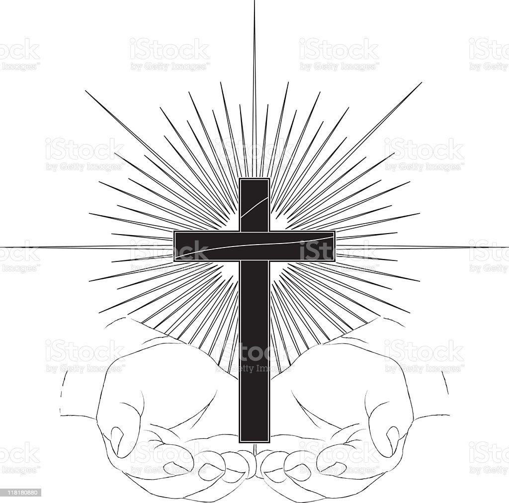 Cupped Hands Holding Cross with Starburst Line Drawing B&W royalty-free stock vector art
