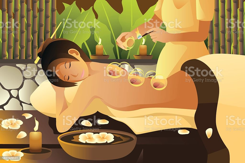 Cupping therapy vector art illustration