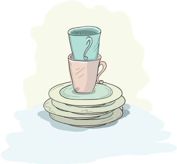 Stack Of Dirty Dishes Clip Art, Vector Images & Illustrations - iStock
