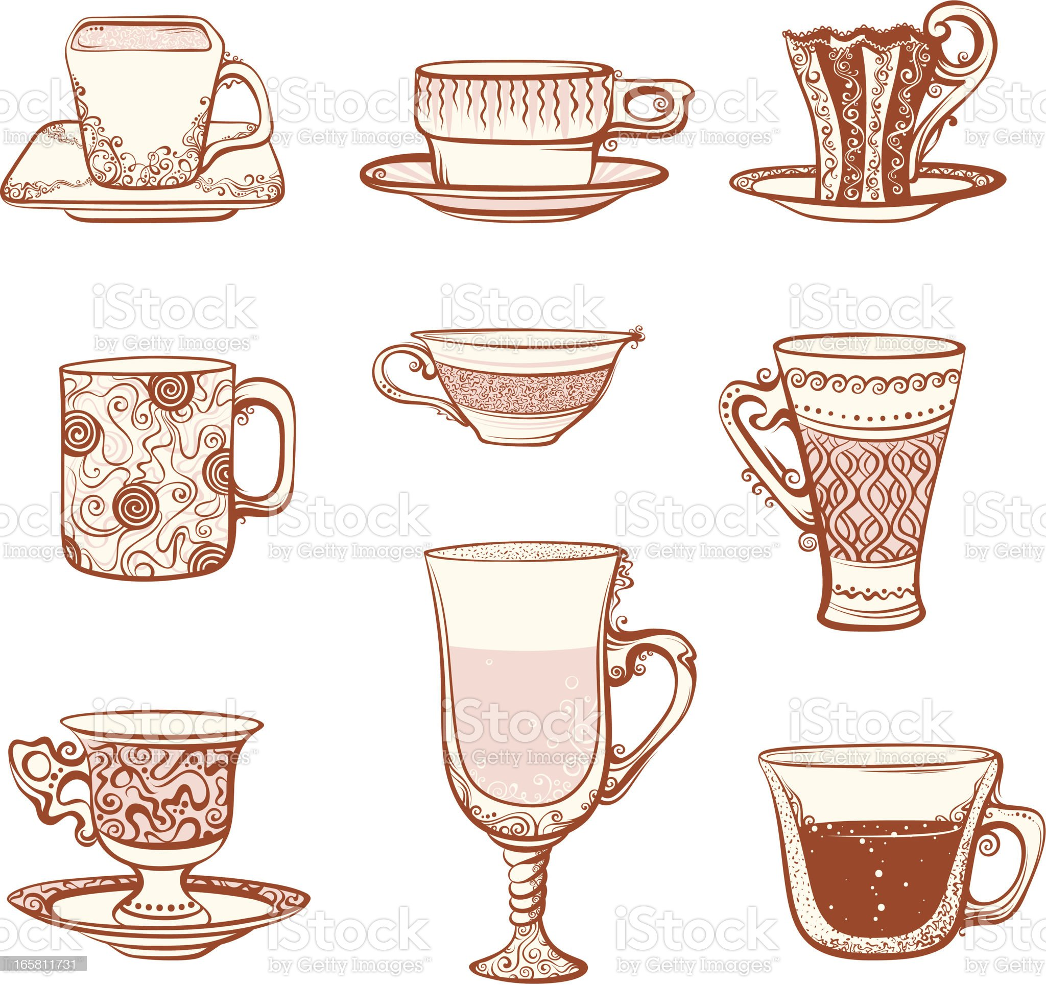 Cups icon set royalty-free stock vector art