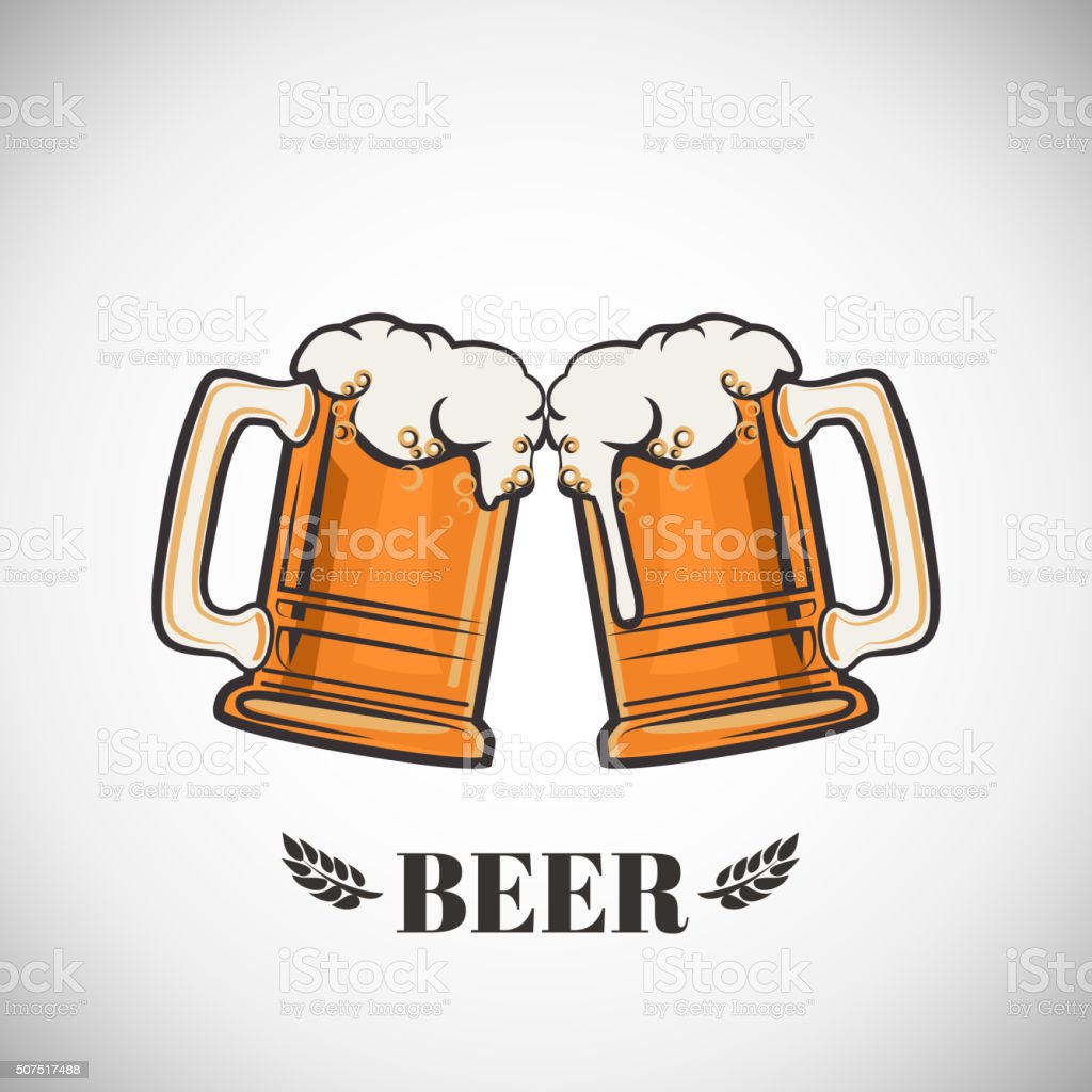 Cups of beer vector art illustration
