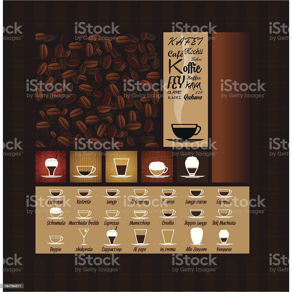 Cups of coffee with grains for restaurant vector art illustration